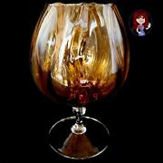 Amber Glass Large Brandy Snifter Optic Glass Mint Condition