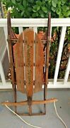 Vintage Wooden Sled Iron Rails Lightning Guider Sled 1940s 1950s Wall Decor Old