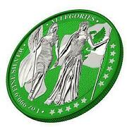 Germania 2019 5 Mark Columbia And Germania I-color - Forest Green 1 Oz Silver Coin