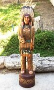 John Gallagher Carved Wooden Cigar Store Indian Statue 5 Ft.tall Very Detailed