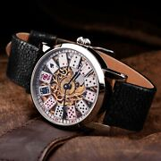Swiss Made Casino Wristwatch With Leather Strap Mens Watch For Him