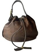 Guccisimma Brown Leather Drawstring Hobo Shoulder Bag - Authentic