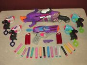 Lot Of 6 Nerf Rebelle Crossbow And Handguns Including 16 Darts And Accessories