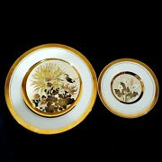 2 Lot Art Of Chokin Lal 24k Gold Edge Plates 9 / 6 Etched Gold Silver Swallows