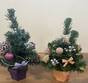 2 Vintage 80s 11 Artificial Christmas Tree In Pot W/ Pine Cones Bows And Gifts