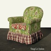Vintage French Country Multi Fabric Green Accent Chair W Base That Rocks