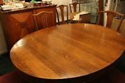 Antique Tiger Oak Oval Dining Table Carved Lion Feet 2 Leavesandnbsp 6 Chairs