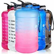 Plastic 1 Gallon Water Bottle Motivational With Time Marker And Straw Large Jug