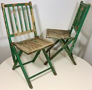 Antique Folding Wooden Chairs Shabby Green Chippy Paint Old Rustic Well Worn