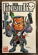 The Punisher 1 Variant Sketch Cover Comic Book W/ Orig. Punisher Art By Rak