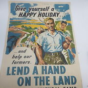 Vintage Hmso 'lend A Hand On The Land' Help Our Farmers [original] Ww2 Interest