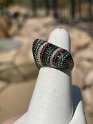 Super Fun Confetti Colored Pave Crystal Dome Ring, Sterling W14k Gold Vermeil