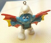 Vintage Schleich 1978 Blue Smurf With Flying Wings Christmas Tree Ornament