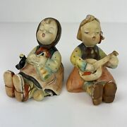 Vintage With Patina Solid Ceramic Figurines Two Bavarian Girls Singing 3 Tall