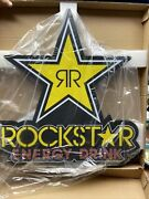 """Rockstar Energy Drink Led Light Up Bright Neon Sign 30"""" Tall X 28"""" Wide New"""
