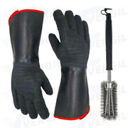 Barbecue Brush And Oven Gloves Set Grill Cleaning Tool 932℉ Heat Resistant Mitts