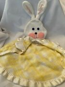 Fisher Price 1979 Security Bunny Blanket Yellow Plaid Satin Lovey 441 442 443