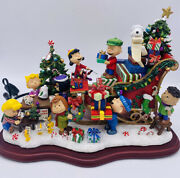 Danbury Mint Peanuts Gang Christmas Snoopy Sleigh Lighted Holiday Sculpture