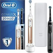 Oral-b Genius X 20900 Twin Pack Electric Rechargeable Toothbrush Black Rose Gold