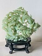 Vintage Hand Carved 8 Jade Tree Sculpture With Flowers Birds With Stand Damaged