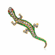 Vintage Multi-gem And Diamond Lizard Pin/pendant In Sterling Silver And 14kt Gold