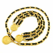 Belt Chain Coco Mark Series Vintage Gold Black Women And039s _42462