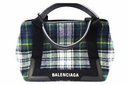 Balenciaga Navy Hippos Wool Check With Pouch Bag Secondhand Popularity 14 _39683