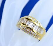 14k Yellow Gold Round And Baguette Diamond Ring