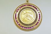 24k Gold Usa Five Dollar Coin 1900 And 14k Custom Frame Pendant With Rubys