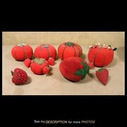 Antique Sewing Lot 6 Tomato Pincushions 7 Emery Strawberries