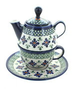 Blue Rose Polish Pottery Mosaic Flower Individual Teapot And Cup
