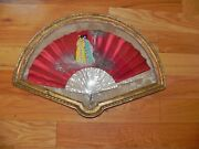 Antique Oriental Hand Fan In Gold Shadow Box Framed - Red W/mother Of Pearl