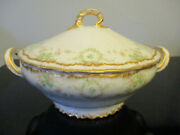 Antique Theodore Haviland Limoges Pink Green Roses Double Gold Gilt Soup Tureen