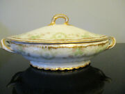 Antique Theodore Haviland Limoges Pink Green Roses Double Gold Gilt Oval Tureen
