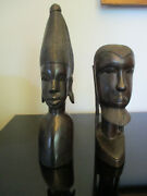 Pair African Ebony Hand Carved Modernist Wood Sculpture Tribal Art Statue Busts