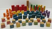 N Vintage Lot Of 82 Piece Wooden Toy Blocks Letters