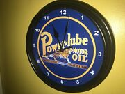 Powerlube Tiger Oil Gas Service Station Bar Advertising Man Cave Clock Sign