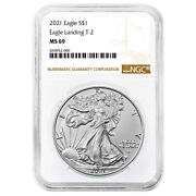 Presale - 2021 1 Type 2 American Silver Eagle Ngc Ms69 Brown Label