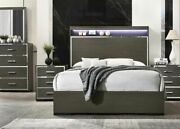 Eastern King Size Bed 4pc Bedroom Furniture Set 2way Led And Gray Oak Acrylic Trim