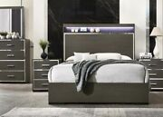 Queen Size Bed 4pc Bedroom Furniture Set 2way Led Touch And Gray Oak Acrylic Trim