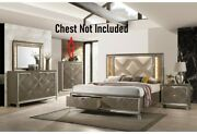 Eastern King Size Bed 4pc Bedroom Furniture Led Pu And Dark Champagne Padded Hb