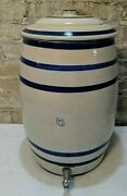 Antique Stoneware Crock 6 Gallon Water Cooler Dispenser With Blue Stripes And Lid