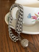 Antique Chunky Chain Charm Bracelet French Sterling Silver Ball Charm Snake Skin