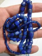 Russian Blue Trade Beads. Antique 24 Inch Graduated Strand.