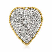Vintage Diamond Heart Pin In Sterling Silver And 14kt Gold