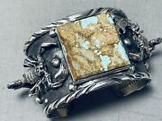 Heavy Detailed Scorpion Native American Turquoise Sterling Silver Bracelet