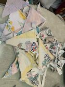 Lot Of 3 Vintage Fabric Bunting Flags Chenille Patchwork Embroidered