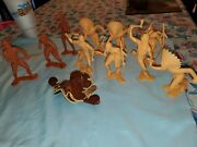 Vintage Lot 6 Marx Toy Plastic Indians And Cowboys Figures And Leather Saddle