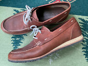 Menand039s Cole Haan 12 M Brown Leather Boat Shoes Nautical Casual Lace Moc Toe