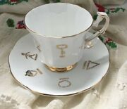 Vintage Red Rose Tea Cup Of Fortune English Bone China By Taylor And Kent, Fun